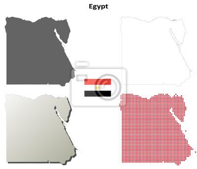 Blank detaillierte Konturkarten von Ägypten