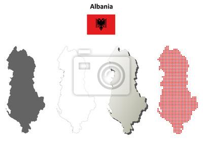 Blank detaillierte Konturkarten von Albanien