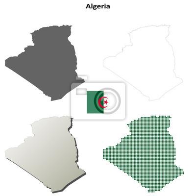 Blank detaillierte Konturkarten von Algerien