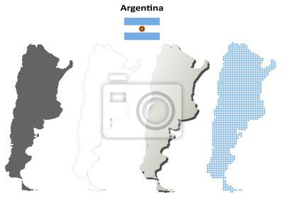 Blank detaillierte Konturkarten von Argentinien