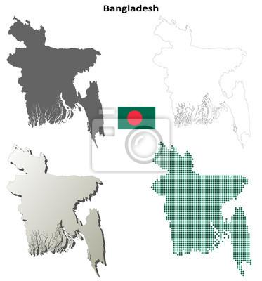 Blank detaillierte Konturkarten von Bangladesch