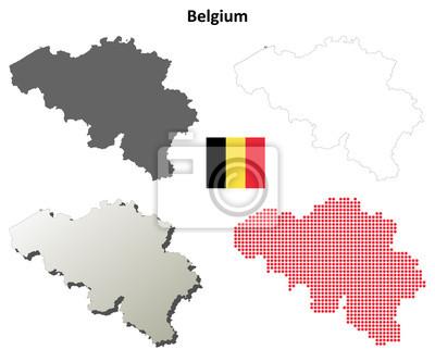 Blank detaillierte Konturkarten von Belgien