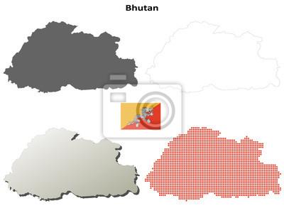 Blank detaillierte Konturkarten von Bhutan