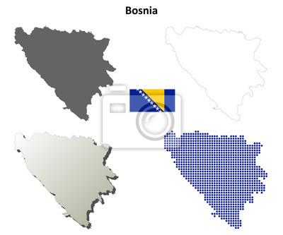 Blank detaillierte Konturkarten von Bosnien und Herzegowina