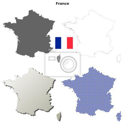 Blank detaillierte Konturkarten von Frankreich