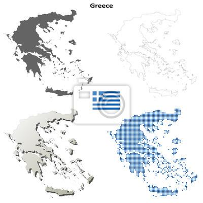 Blank detaillierte Konturkarten von Griechenland