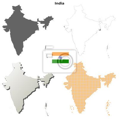 Blank detaillierte Konturkarten von Indien
