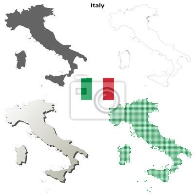 Blank detaillierte Konturkarten von Italien
