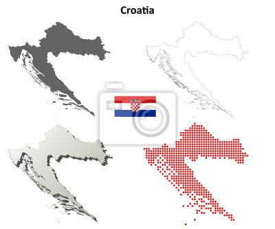 Blank detaillierte Konturkarten von Kroatien