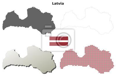 Blank detaillierte Konturkarten von Lettland