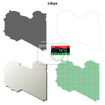 Blank detaillierte Konturkarten von Libyen