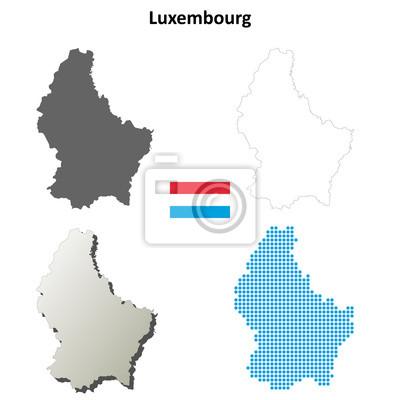 Blank detaillierte Konturkarten von Luxemburg