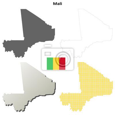 Blank detaillierte Konturkarten von Mali