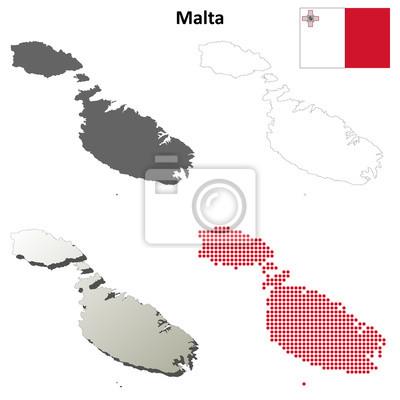 Blank detaillierte Konturkarten von Malta