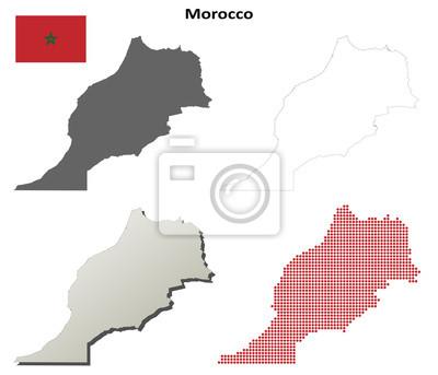 Blank detaillierte Konturkarten von Marokko