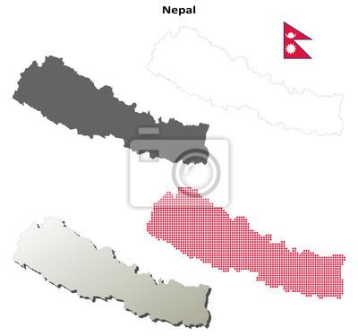 Blank detaillierte Konturkarten von Nepal