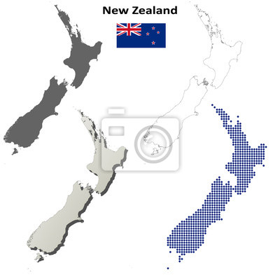 Blank detaillierte Konturkarten von Neuseeland