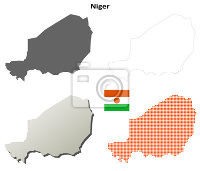 Blank detaillierte Konturkarten von Niger