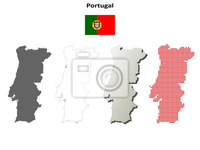 Blank detaillierte Konturkarten von Portugal