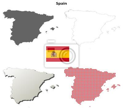 Blank detaillierte Konturkarten von Spanien
