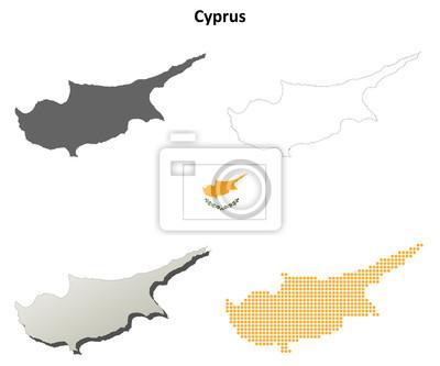 Blank detaillierte Konturkarten von Zypern