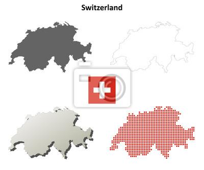 Blank Kontur detaillierte Karten der Schweiz