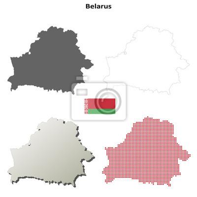 Blank Kontur detaillierte Karten von Belarus