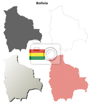 Blank Kontur detaillierte Karten von Bolivien