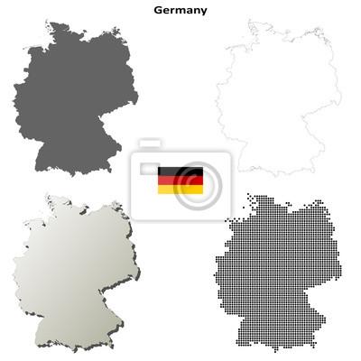 Blank Kontur detaillierte Karten von Deutschland