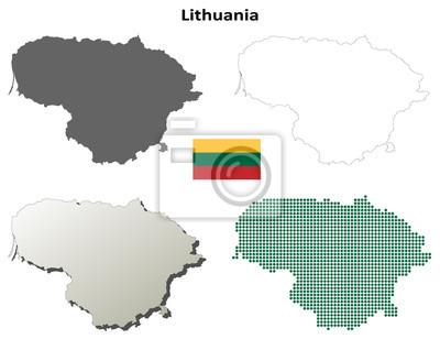 Blank Konturkarten Litauen