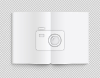 Bild Blank opened book, magazine and notebook template with soft shadows on transparent background. Front view. - stock vector.