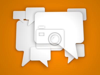 Blank Sprechblase auf orange Hintergrund