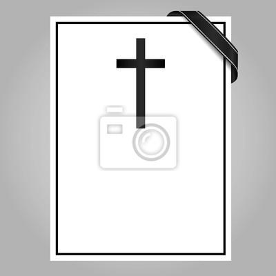 Kreuz Karte.Bild Blank Trauer Karte Mit Kreuz Und Band