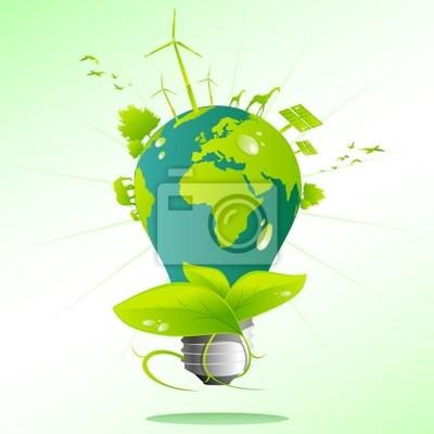 Blau, grün Erde Glühbirne