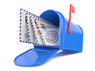 Blau Mailbox mit Mails