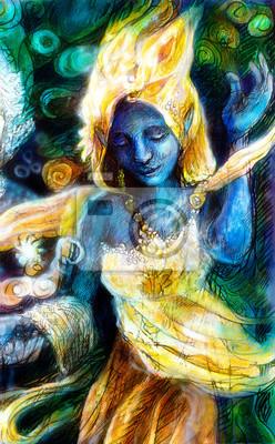 Blau Tanzgeist in goldenen Kostüm mit Energie Lichter, mystic