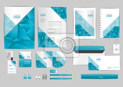 Corporate Design Vorlage | Blau Und Grau Mit Dreieck Corporate Identity Vorlage Fur Ihre