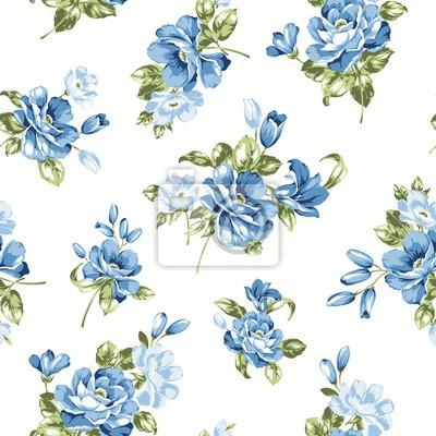 Blaue Blumen Nahtlose Muster