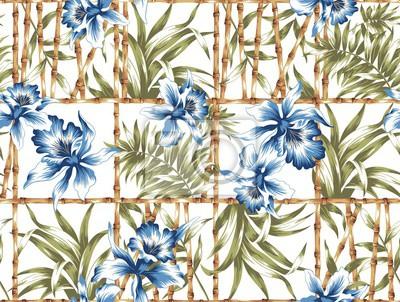 Blaue Blumen und Bambuszaun Nahtlose Muster