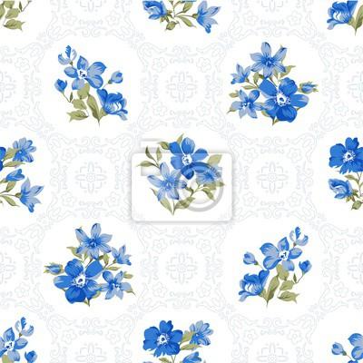 Blaue Blumen und Ornamente Nahtlose Muster