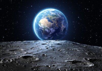 blaue Erde vom Mond aus gesehen Oberfläche