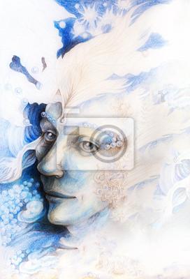 Blaue Fee Mann Gesicht Porträt mit sanften abstrakten Strukturen