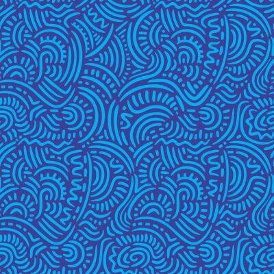 Blaue Gekritzel-Linien Nahtloses Muster
