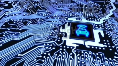Bild Blaue Leiterplattennahaufnahme schloss an eine CPU mit einem glühenden Auto wifi Symbol auf Illustration des obersten intelligenten Fahrzeugkonzeptes 3D an