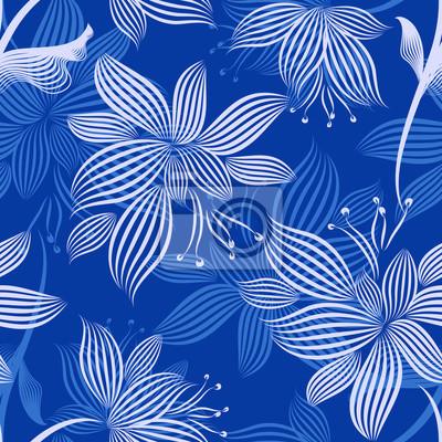 Blaue Ornamentale Blumen Nahtlose Muster