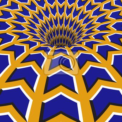 Blaue Pfeile Loch. Optische Bewegung Illusion Illustration.