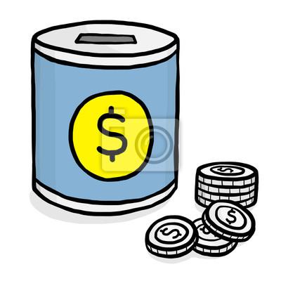 Blaue sparbüchse und münzen mit dollarzeichen leinwandbilder ...