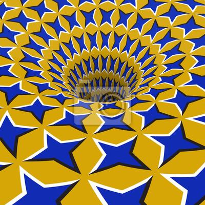 Blaue Sterne Loch. Optische Bewegung Illusion Illustration.