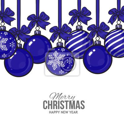 Weihnachtskugeln Blau.Bild Blaue Weihnachtskugeln Mit Schleife Und Bögen Vektor Grußkarte