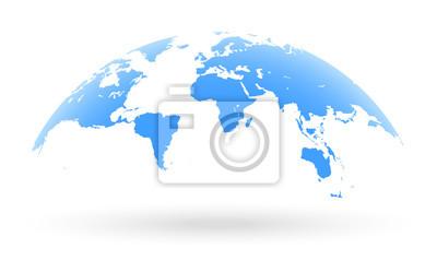Bild Blaue Weltkarte Globus isoliert auf weißem Hintergrund